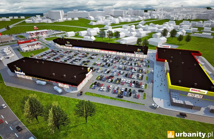 Wizualizacja parku handlowego Karuzela w Świebodzinie