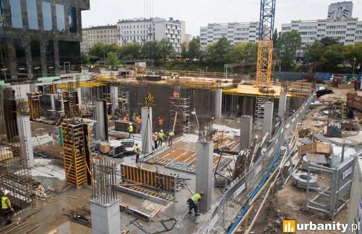 Postęp prac na budowie Chmielna 89 w Warszawie - lipiec 2018 r.