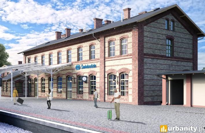 Wizualizacja dworca Świebodzin - od strony peronów