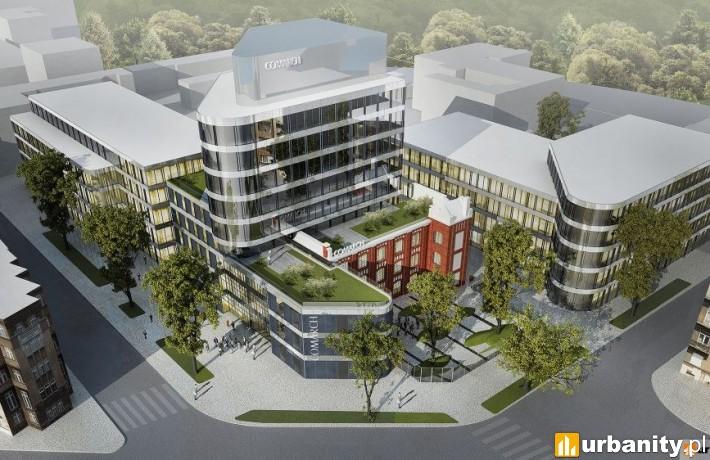 Wizualizacja kompleksu biurowo-konferencyjnego firmy Comarch w Łodzi