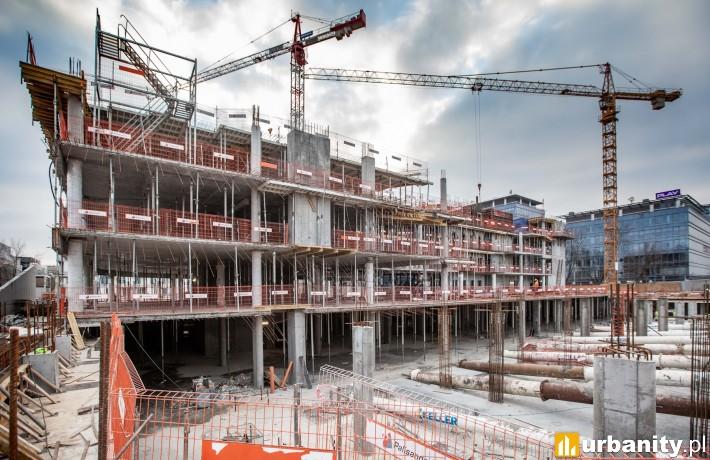 Postęp prac na budowie biurowca DSV w Warszawie