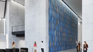 Lobby Varso Tower z wyjątkową ceramiczną mozaiką
