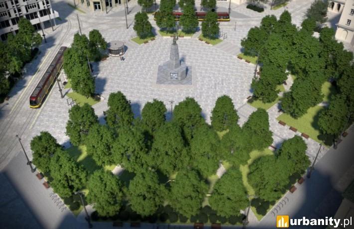 Przebudowany plac Wolności w Łodzi - wizualizacja