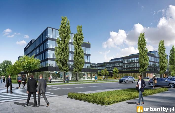 Wizualizacja kompleksu biurowego Neopark w Warszawie