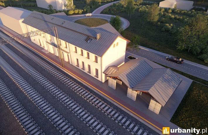 Wizualizacja dworca Opalenica - widok z lotu ptaka
