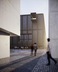 zdjęcie z budowy Muzeum Sztuki Nowoczesnej