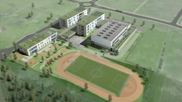 zdjęcie z budowy Zespół oświatowy wraz terenami sportowymi