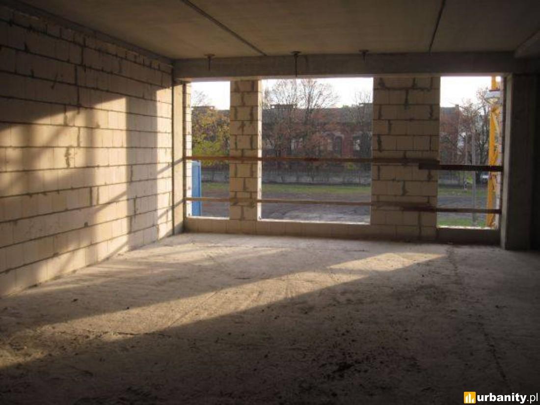 stawianie ścian poddasza oraz ścian między lokalami. Rozpoczęto także montaż instalacji sanitarnej w całym budynku...