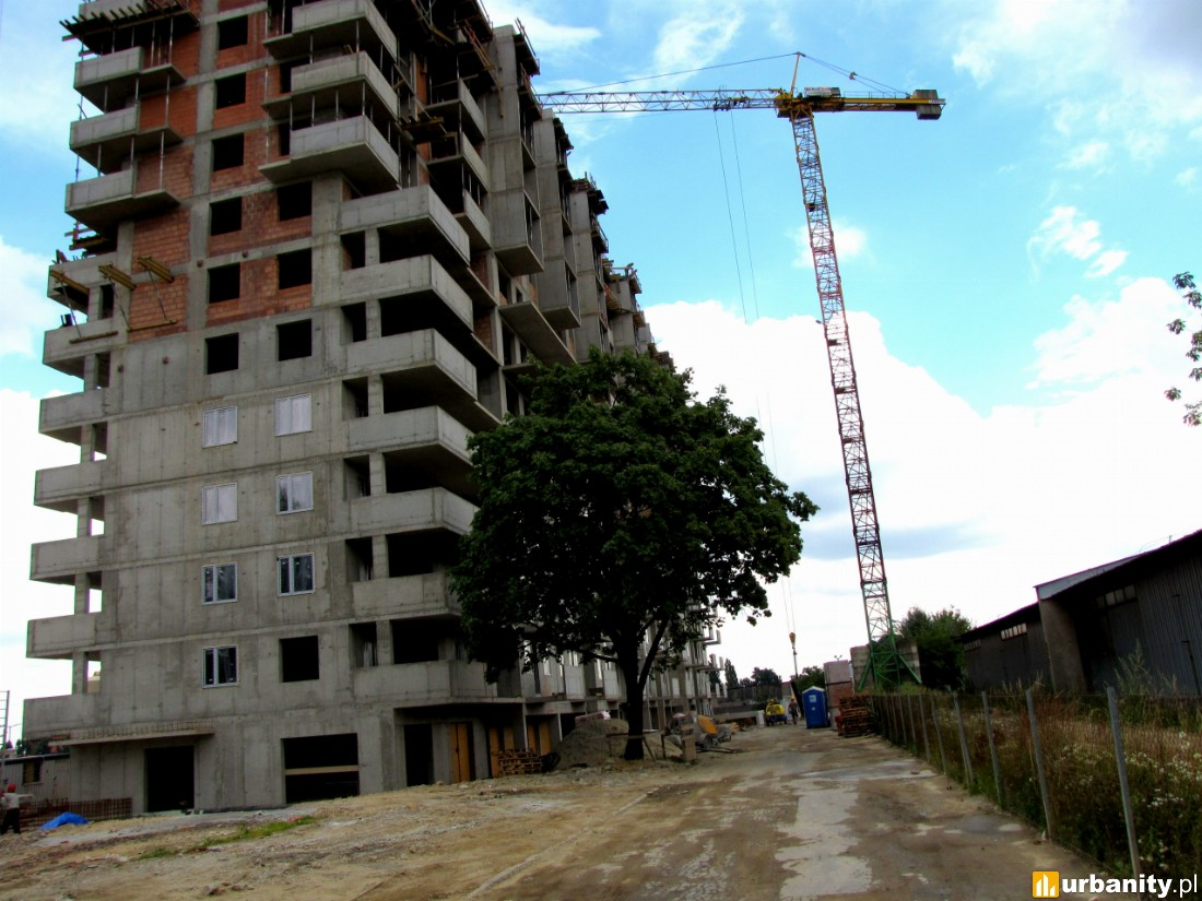 W mieszkaniach pojawiają się okna, instalacje są zakładane są na 8 piętrze. Ścianki działowe dosięgnęły 9 piętra...