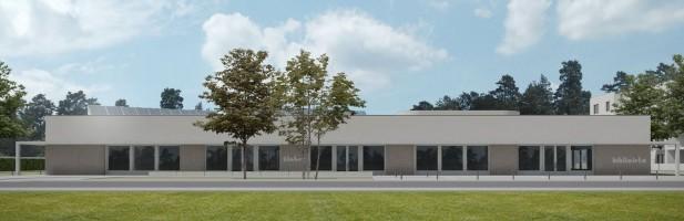 zdjęcie z budowy Żłobek z filią Miejskiej Biblioteki Publicznej i salą Rady Osiedla